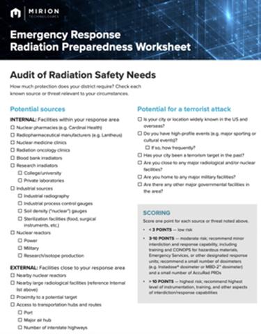 Radiation Ready: Emergency Response Radiation Preparedness Worksheet