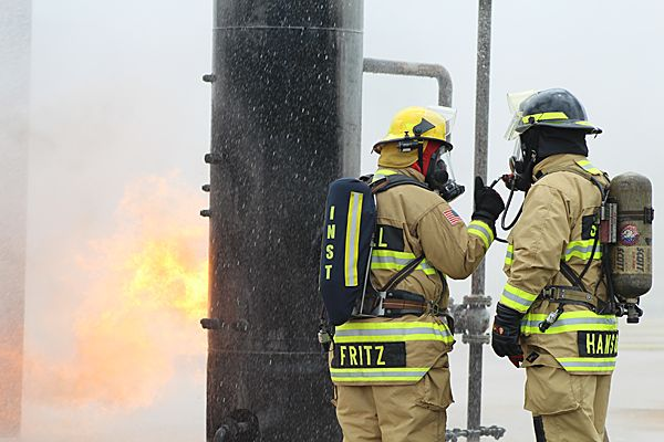 Fire Chief Pablo Martin Fritz Oliver acts as instructor. - Photo by Anton Riecher