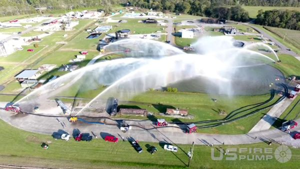 An aerial drone captures the big water demonstration at its zenith. - Photo courtesy of US Fire Pump