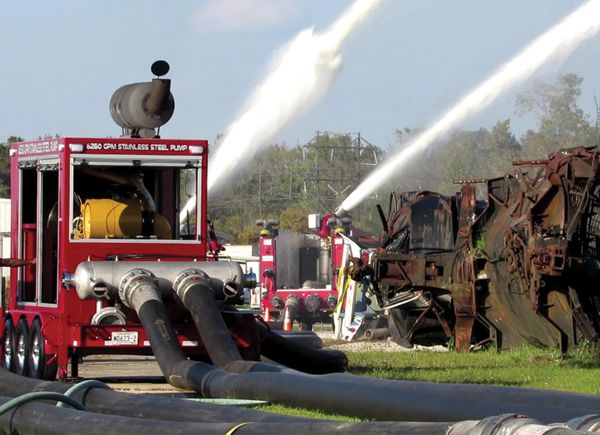 A US Fire Pump mobile pump sustains two deck guns flowing 16,000 gpm. - Photo by Anton Riecher