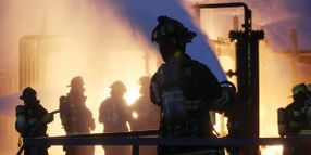 Chevron Firefighters Battle Live-Fire Training Prop at Dawn