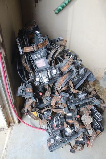A pile of flood damaged SCBA equipment being discarded. -