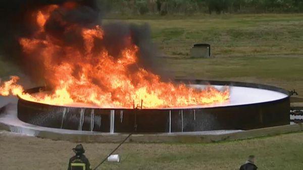 Foam testing at International Rescue Training Field using a 42-foot diameter tank - Photo by Anton Riecher