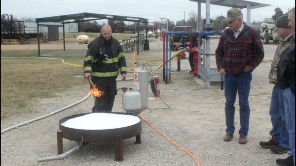 Foam testing using a 42-inch diameter tank - Photo by Anton Riecher