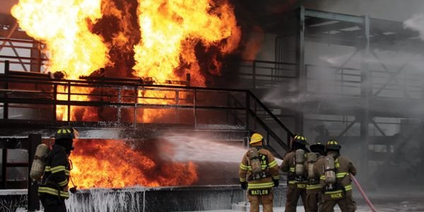 Responders challenge the Refinery Terminal Fire Company's live-fire process training unit in Texas