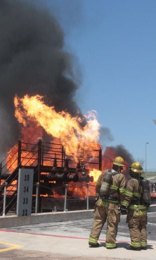 TEEX's shipboard firefighting prop in all its fearsome glory. - Photo by Anton Riecher