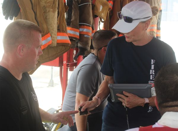 Electronics are key in quickly establishing if a firefighter on the training field is showing signs of heat stress or any risk of a cardiac distress either immediately or at some point after the evolution. - Photo by Anton Riecher