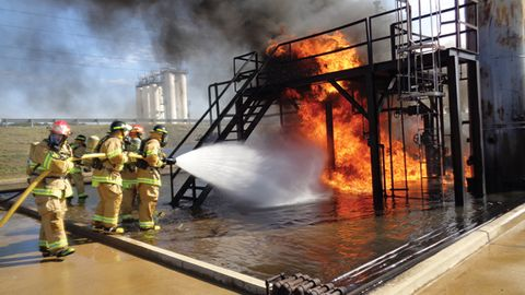 Valero firefighters in Memphis, TN practice on their own fire training field