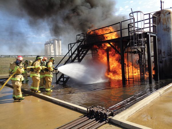 Valero firefighters in Memphis, TN practice on their own fire training field - Photos courtesy of Valero