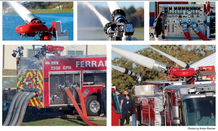 Clockwise, starting at left, the Williams F&HC Ambassador, two TFT Monsoons, the Ferrara SuperPumper control panel, the three nozzles working together at full flow and the Ferrara truck linking the second truck with the skid unit. -