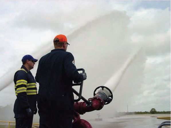 Demonstration of the large volume Tyco Williams Fire & Hazard Control Ranger nozzle conducted during the 2015 Xtreme Industrial Fire and Hazard Training. - Photos by Anton Riecher