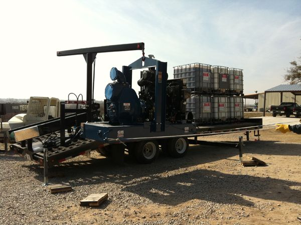 A response trailer equipped with a 1,500 gpm pump. -