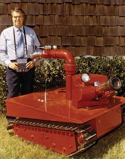 Phil Cummins and his 1970s fire fighting robot, the Fire Cat - Photo provided by Mark Cummins