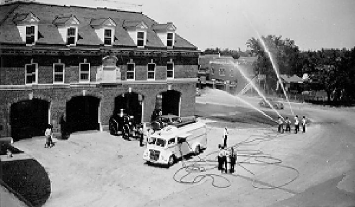 Apparatus demonstration at the campus fire station in 1940. - Photo provided by the Fire Protection Publications Archives.