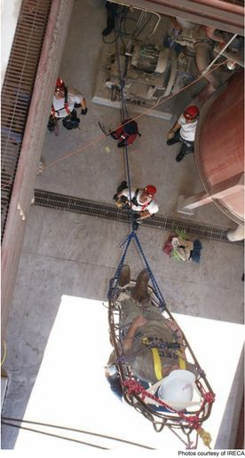 High angle rope rescue in progress. -