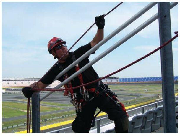 Rope rescue in stadium setting. -
