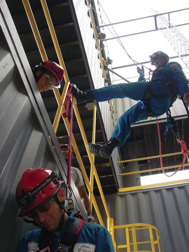 Repelling into the RTC courtyard to reach injured worker.  -