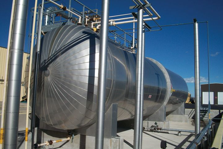 A pressurized LPG tank. -