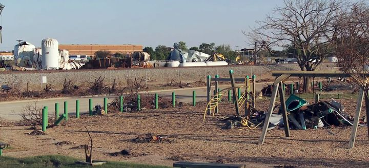 The devastating aftermath of the April 2013 West fertilizer explosion as seen from a nearby children's playground. - Photo courtesy of U.S. Chemical Safety Board