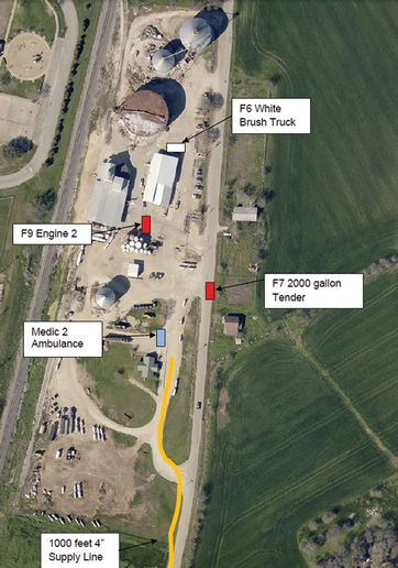 Positions of firefighters at time of the West Fertilizer blast. - Photo courtesy of Texas State Fire Marshal's Office