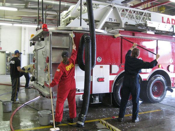 A GPBFD ladder truck gets tender loving care from department personnel. -
