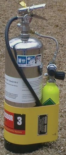 A suppressor 3 hand held CAFS extinguisher. - Photo courtesy of Red Dog