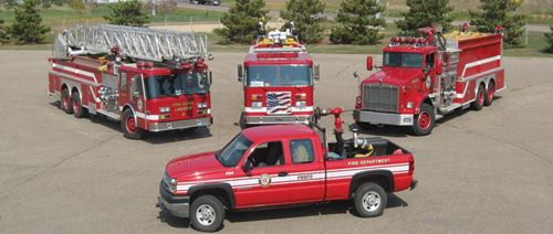 Part of the Pine Bend's Volunteer Emergency Response Team fleet that includes two aerials and four engines. -
