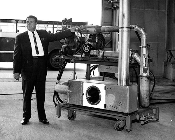 A test burn apparatus Cummins used to document the jet engine inertization of coal mines and industrial buildings - Photo provided by Mark Cummins