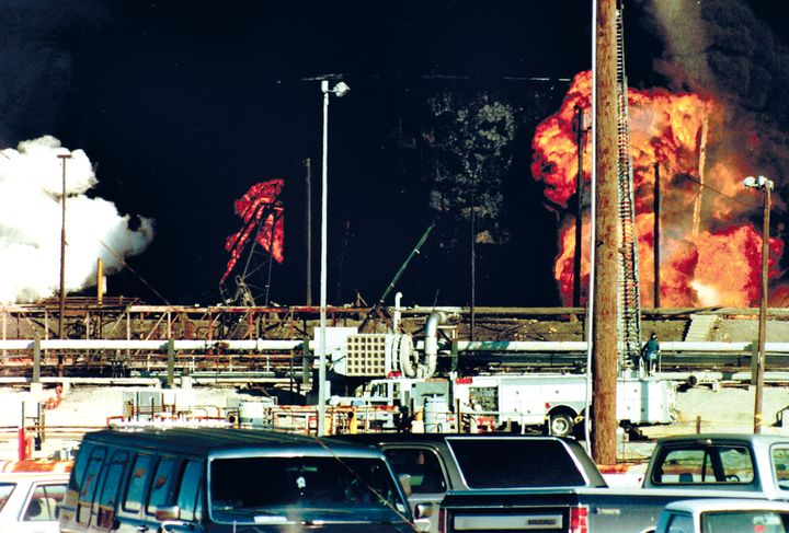 A natural gas vapor cloud released by an overpressurized pipeline exploded. - Photo courtesy of Jerry Craft.