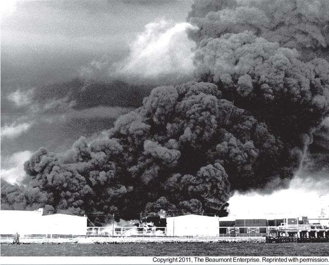 Crude oil boilover spread flames through a Port Neches, Texas, tank farm in 1974 -