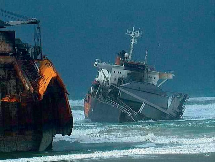 Within a week of running aground, violent wave action tore the freighter apart. - Photo courtesy of U.S. Coast Guard.