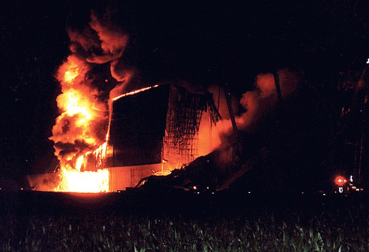 Fire follows the fall of the printing plant warehouse near Brownsville. - Photo courtesy of Brownsville Fire Company.