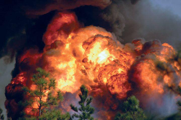 Billowing flames dwarf the woods near the T2 Laboratories in Jacksonville. - Photo by Steve Gerbert.