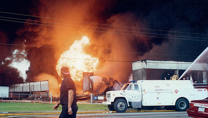 One of the many explosions that happened as flames eat through the inventory - Photo by Tom McDonald.