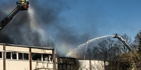 Air Force Firefighters Lend Support at German Factory Fire