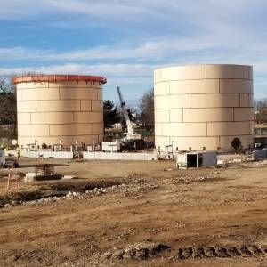 All tanks, including these fuel tanks like these found at a midwest airport, require periodic cleaning and maintenance. - Screen capture Pittsburgh Tank & Tower Group