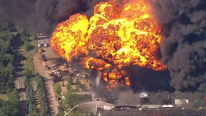 OSHA officials are investigating the Chemtool fire. There are no current safety violations against the facility. - Screencapture ABC7 Chicago