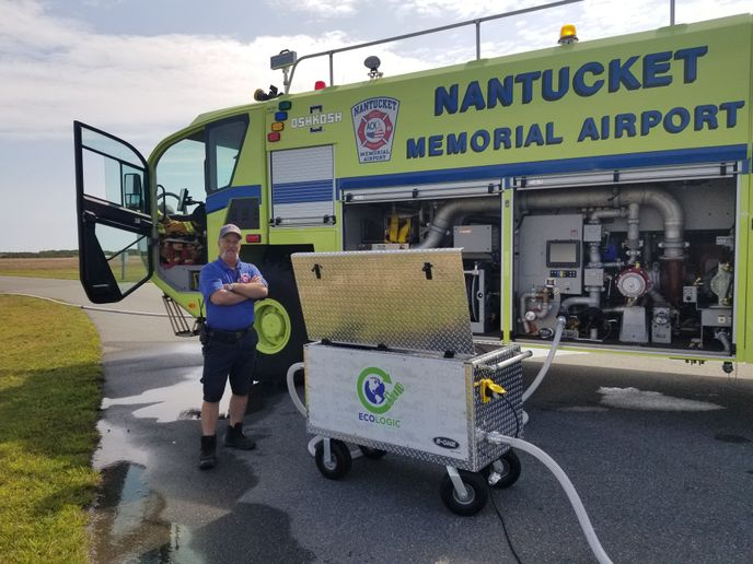 The ECOLOGIC mobile cart tests the accuracy of foam systems without the environmental impacts of using foam to perform an output-based test. - Nantucket Memorial Airport