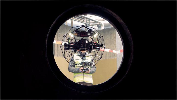 Elios 2 deployed for a manhole inspection. - Flyability