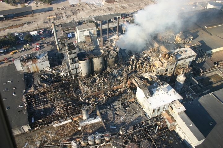 The Imperial Sugar refinery blast in Savannah, Georgia, was fueled by massive accumulations of sugar dust throughout the packaging building. - Wikipedia