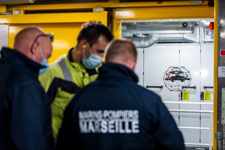 Marine Firefighters of Marseille used Flyability drones to view a ship's interior before dispatching firefighters - Flyability