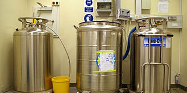 Liquid nitrogen stored in tanks at an industrial facility.