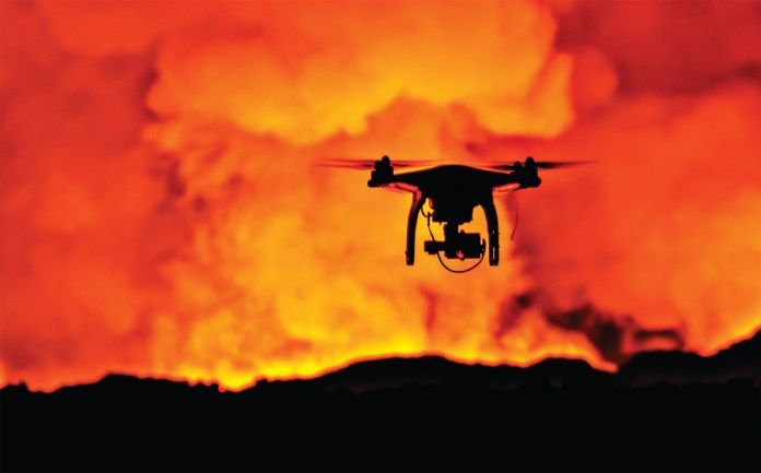 When drones fly overhead, the technology can pinpoint hidden dangers while firefighters remain a safe distance away. - sUAS News