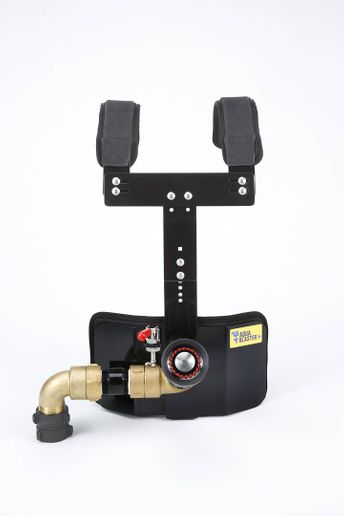 Dynasty of Lake Geneva, Wisconsin, modified a drum carrier harness produced for marching bands for fire service use. - Aqua Blaster