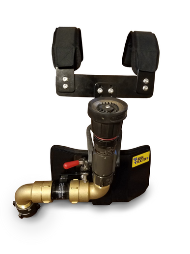The Aqua Blasteris a harness frame that incorporates a fire hose and nozzle to allow the wearer to operate a charged fire hose and fire nozzle. - Aqua Blaster