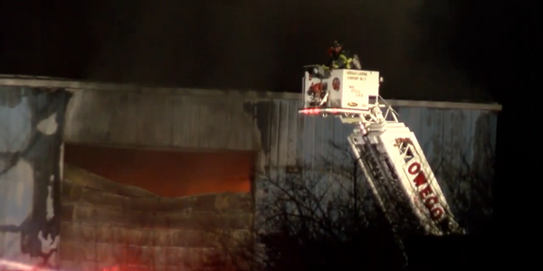 Firefighters battle recycling plant fire Jan. 3 in Apalachin, New York.