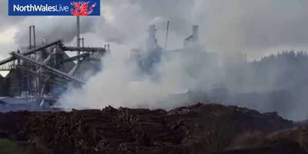 Wood supply for UK paneling plant goes up in flames.