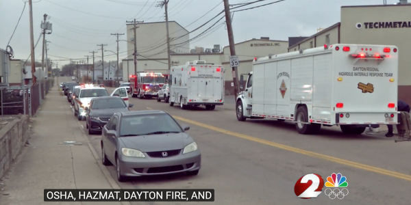 Emergency vehicles on hand after worker falls into vat of acid in Ohio.