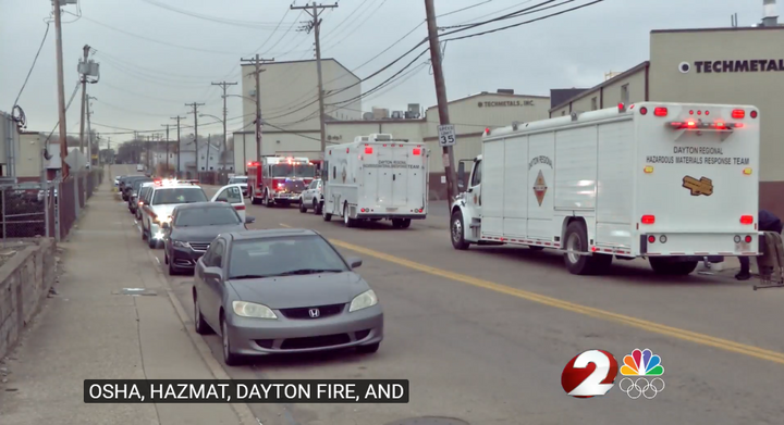 Emergency vehicles on hand after worker falls into vat of acid in Ohio. - Screencapture Via WDTN
