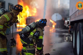 Miami-Dade Firefighters Extinguish Burning Oil Recycling Plant